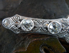 Antique Art Deco Diamond Bar Brooch (Pin) in 18K White Gold