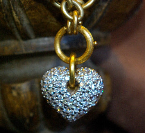 Estate 18K Yellow Gold Heavy Link Chain Necklace with Diamond Pave Heart Charm
