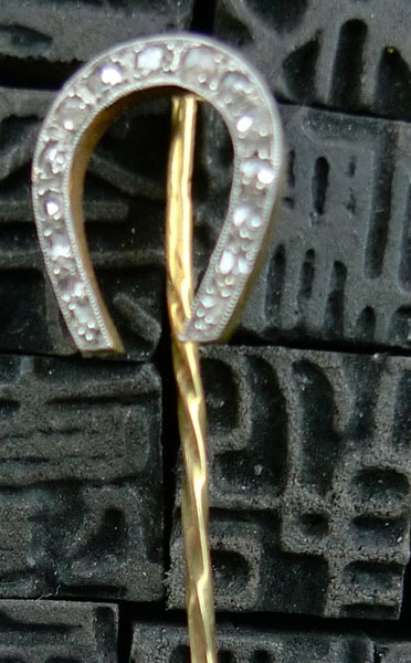 Estate Diamond Horseshoe Tie Pin 14K Yellow Gold