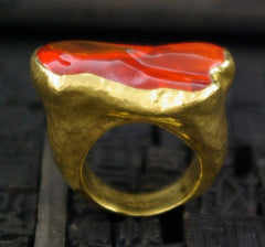 ARA 24K Polished Fire Opal Ring in 24K Gold