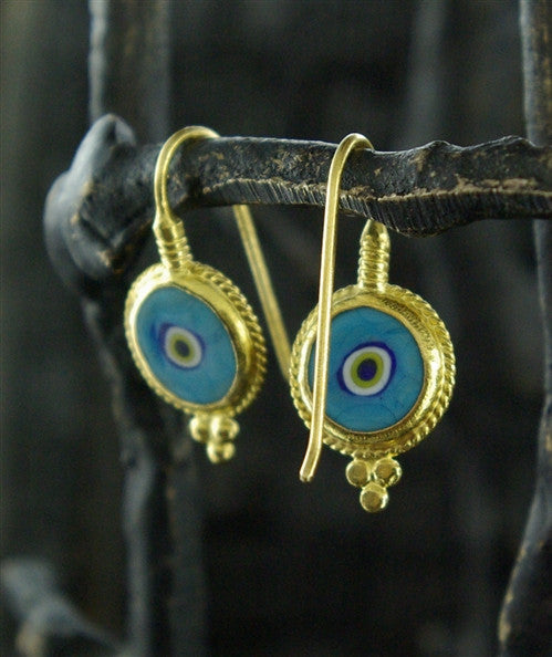 ARA 24K Collection Evil Eye Design Earrings in Pure Gold