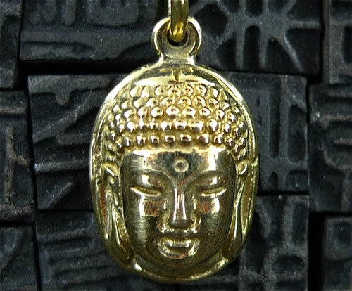 Lazaro Gold Vermeil Head of Buddha Pendant Necklace with Black Spinel Beads