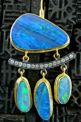 ARA 24K Collection Opal Doublet and Diamond Drop Earrings in Pure Gold with Oxidized Silver