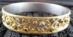 Annie Fensterstock Custom Winter Bangle Bracelet in18K White Gold, 22K Yellow Gold with Fancy Colored and White Diamonds