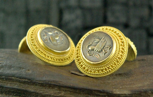 Carolyn Tyler One of a Kind Cufflink and Stud Set in 22K Yellow Gold and Ancient  Khmer Coins