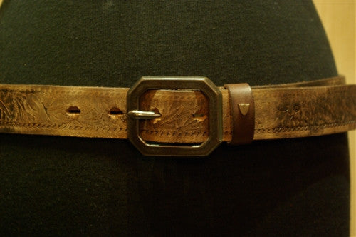 HTC Hollywood Trading Company Steel with Vintage Tooled Brown Leather Belt