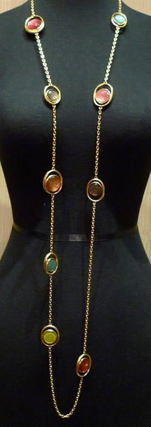 Steven Vaubel 18K Yellow Gold Vermeil Necklace with Multi Colored Stone Stations