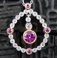 Beverly K 18K White Gold, Pink Sapphire and Diamond Pendant Necklace