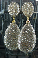 Roni Blanshay Large Drop with Golden Shadow Mesh Earrings--Clip On