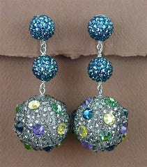 Roni Blanshay Pave Crystal Bead Clip Earrings