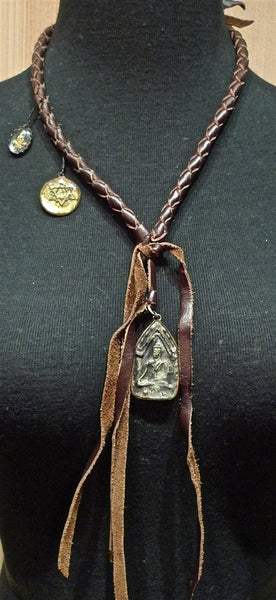 Kimme Winter Buddha Leather Necklace