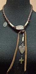 Kimme Winter Heart and Cross Leather Necklace