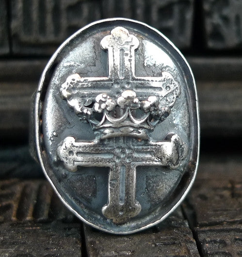 Goti Silver Cross Ring