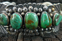Southwestern Signed Sterling Silver and Turquoise Cuff Bracelet