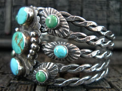 Southwestern Sterling SIlver and Turquoise Wide Cuff Bracelet
