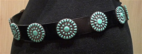 Southwestern Sterling Silver and Turquoise Concha Belt Signed MB