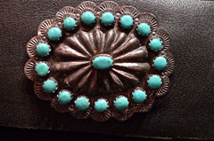 Southwestern Old Pawn Sterling Silver and Turquoise Concho Belt