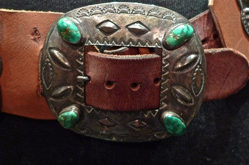 Old Navajo Sterling Silver Concho Belt with Turquoise on New Leather