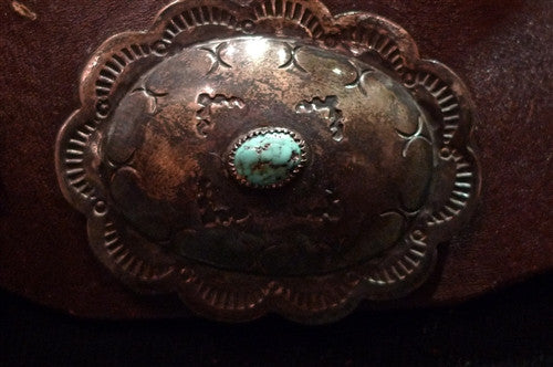 Southwestern Old Navajo Sterling Silver and Turquoise Concho Belt
