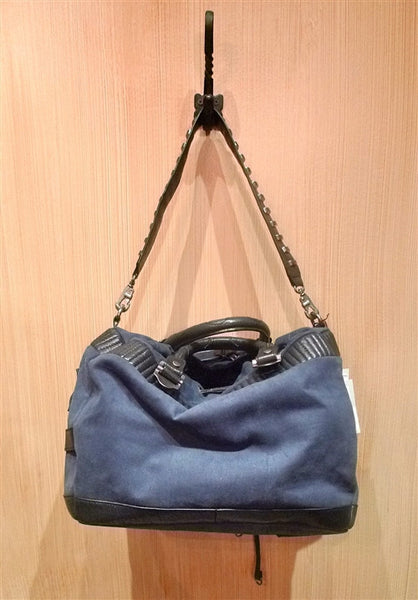 Brachfeld Parlaghy Combat Astrid Satchel Shoulderbag in Navy Canvas and Black Lambskin