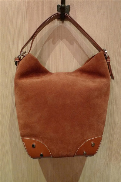 Cognac Suede Bucket Bag with Gold Studs and Leather Shoulder Strap