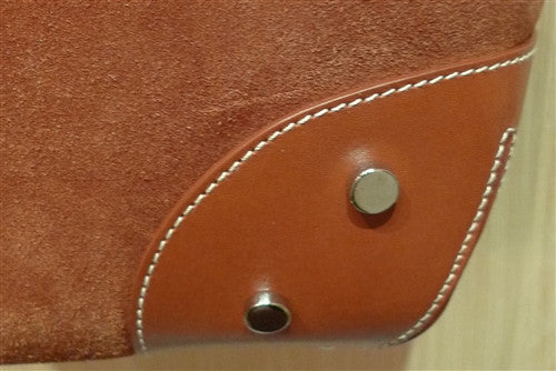 Rust Suede Bucket Bag with Gold Studs and Leather Shoulder Strap