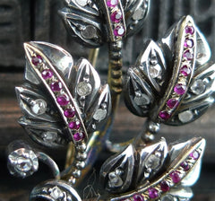 Antique Georgian Ruby and Diamond Leaf Brooch/Pin in 18K Yellow Gold and Sterling Silver