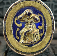 Antique Venetian Glass Intaglio Ring of a Putti