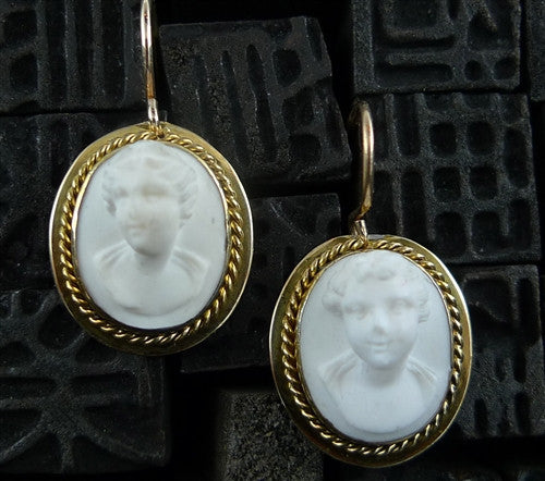 Antique 14K Yellow Gold White Shell Cameo Earrings