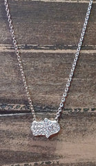 Sugar Bean Platinum Plated Mini Hamsa Necklace