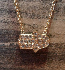 Sugar Bean 14k Yellow Gold Plated Mini Hamsa Necklace