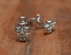 Sugar Bean Platinum Plated Mini Cross Stud Earrings