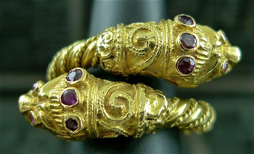 Lalaounis 18K Yellow Gold and Ruby Double Dragon Ring