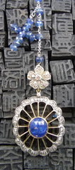 Churchill Private Label 14K Yellow Gold, Silver, and Sapphire Necklace