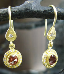 Annie Fensterstock 18K Yellow Gold, Orange Sapphire and Diamond Earrings