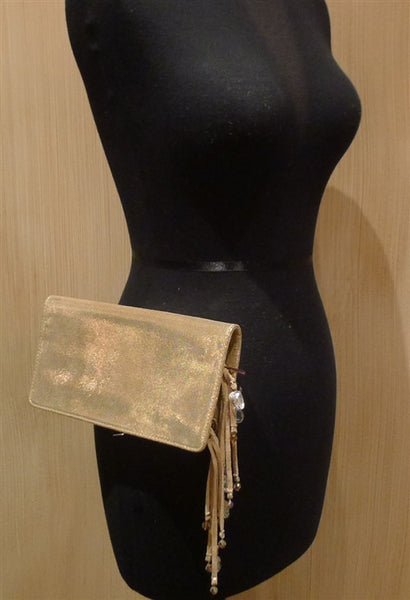 Rachel Abroms Gold Metallic Wallet/Clutch with Crystal Fringe