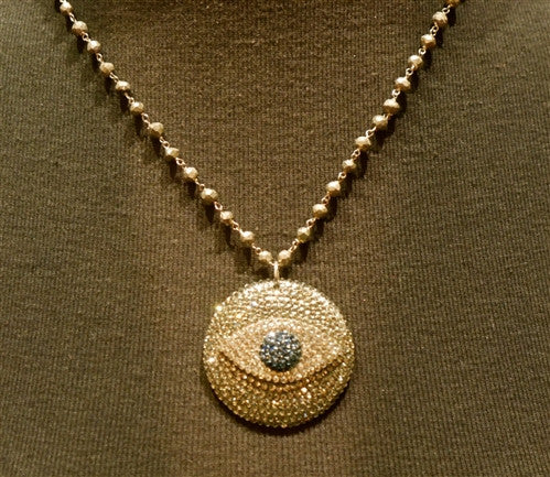 Roni Blanshay Pyrite Bead and Crystal Evil Eye Pendant Necklace