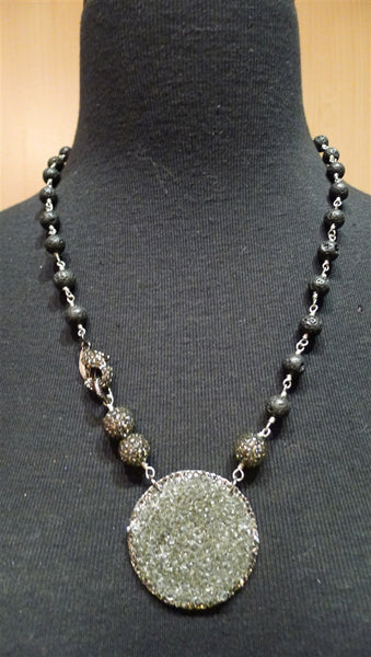 Roni Blanshay Lava Bead and Pave Crystal Pendant Necklace with Lobster Claw Clasp