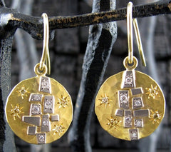 Annie Fensterstock Aerial Earrings in 22K and 18K Gold with Diamonds