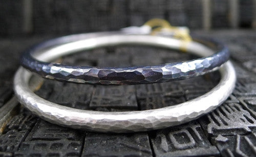 Annie Fensterstock Sterling Silver Hand-Hammered Bangle Bracelet in Blackened Finish