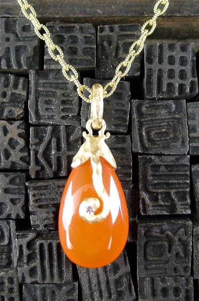 Pamela Froman 18K Yellow Gold, Diamond, Carnelian, and Chalcedony Drop Pendants with Chain Necklaces