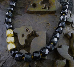 Nava Zahavi Black Onyx Bead Necklace with Three 24K Yellow Gold Wrapped Beads