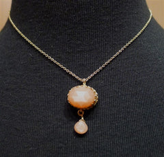 Becky Kelso 14K Yellow Gold and Apricot Moonstone Necklace/Pendant