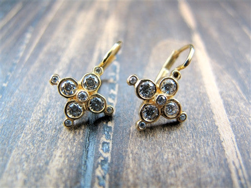 Erica Courtney Lever Cross Diamond Earrings in 18K Yellow Gold
