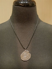 Pyrrha Large Sterling Silver Crest on Leather Cord Necklace