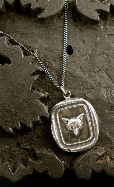 Pyrrha Fox Head Pendant Necklace in Sterling Silver