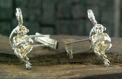 Le Petit Marcel Monkey Cufflinks in Silver with Black Diamond Eyes by Catherine Michiels