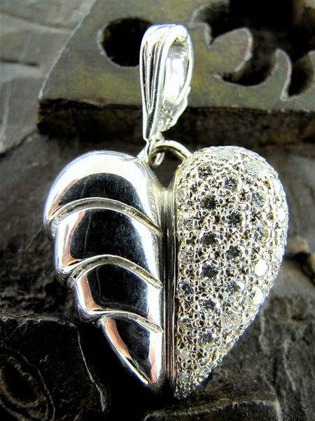 Vintage Vahe Naltchayan Diamond Heart Pendant Enhancer in 18K Gold