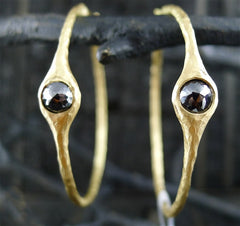 Pamela Froman 18K Yellow Gold and Rose Cut Black Diamond Crushed Headlight Hoop Earrings