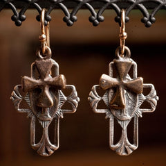 Shannon Koszyk Sterling Silver Double Cross Earrings